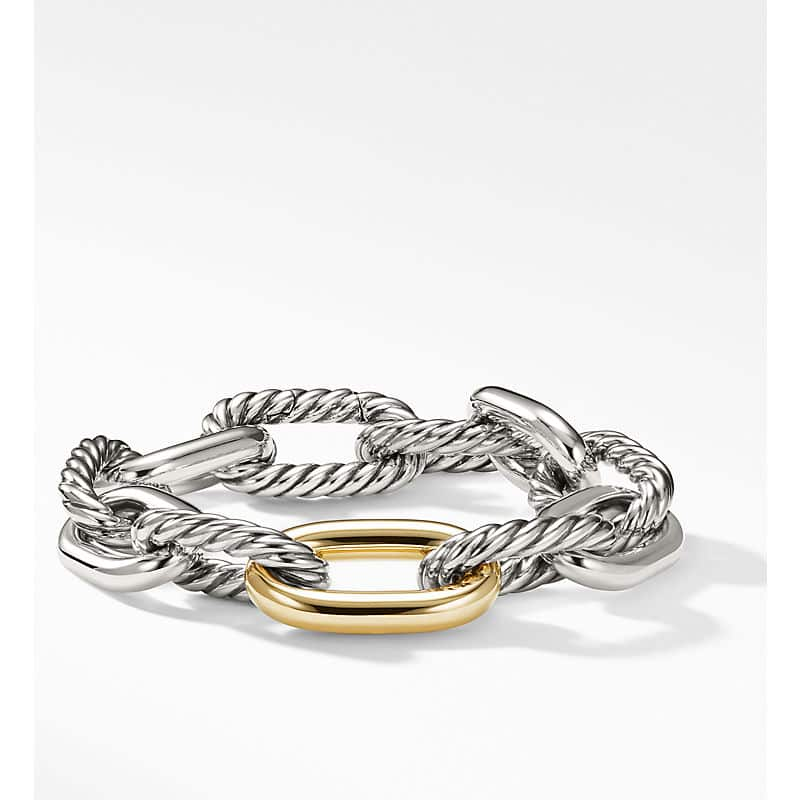 DY Madison Chain Large Bracelet with 18K Gold, 13.5mm