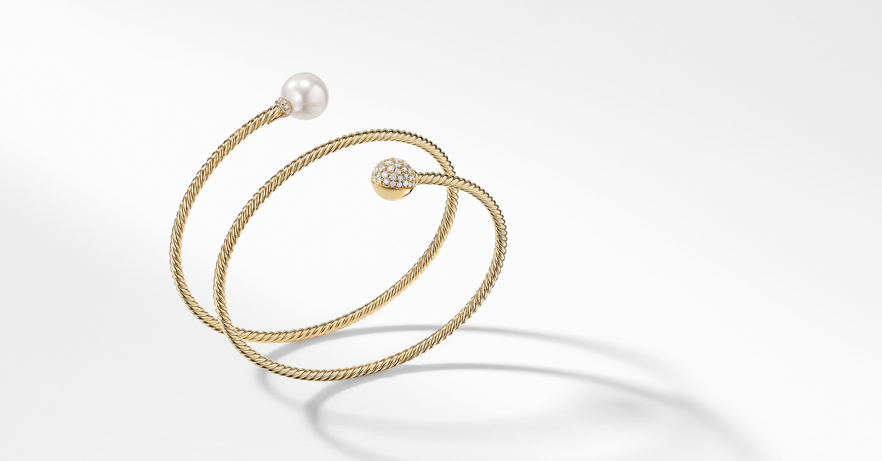 Petite Solari Coil Bracelet with Diamonds in 18K Gold