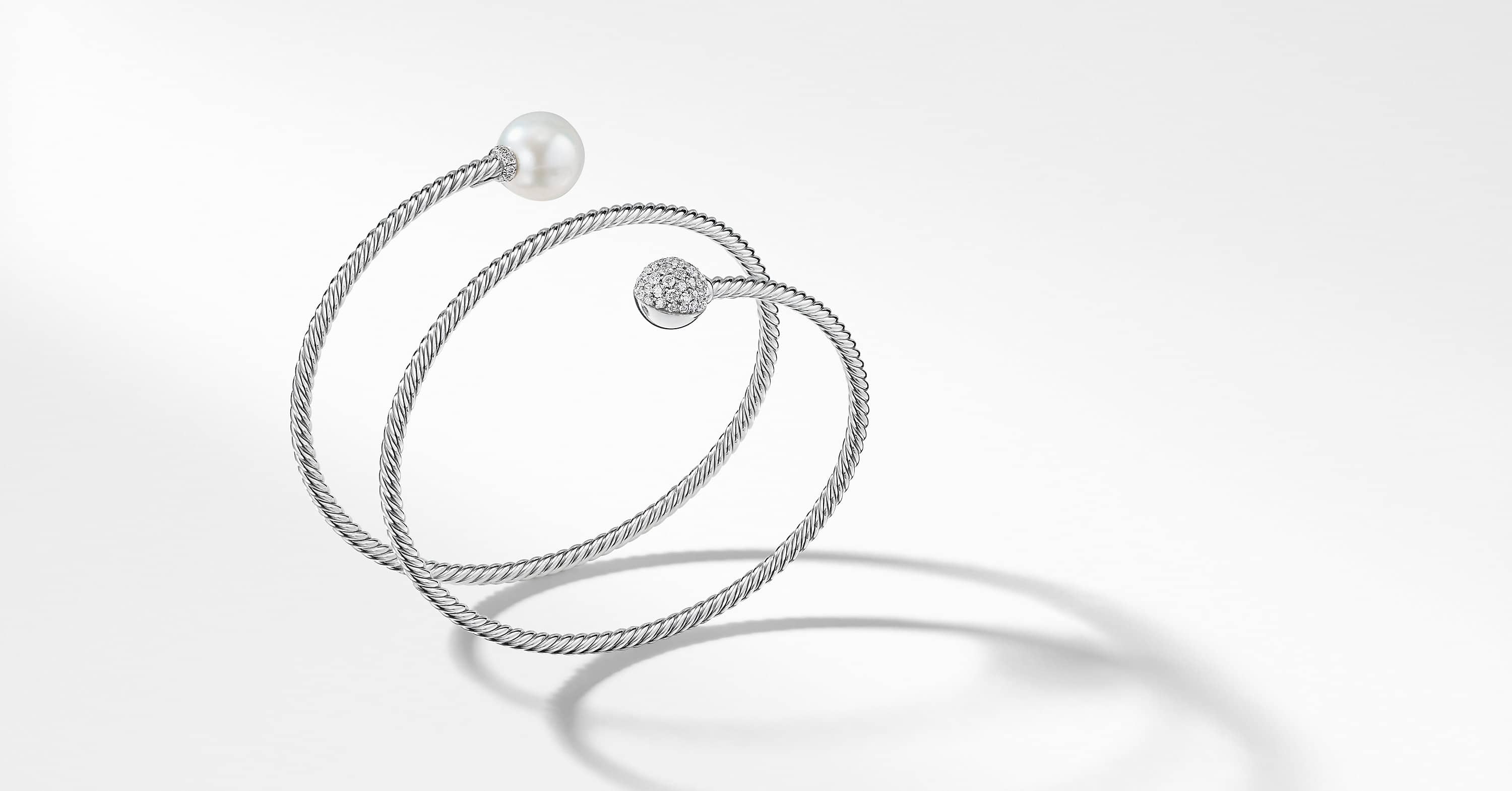 Petite Solari Coil Bracelet with Diamonds in 18K White Gold