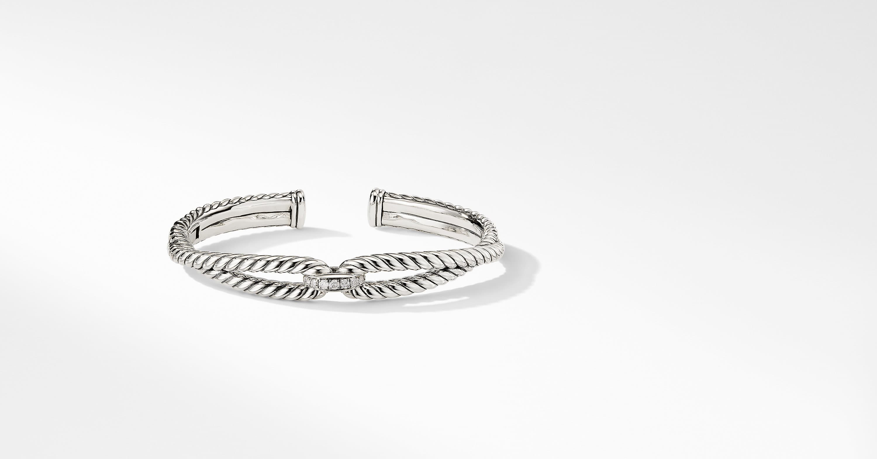 Cable Loop Bracelet with Diamonds, 9mm