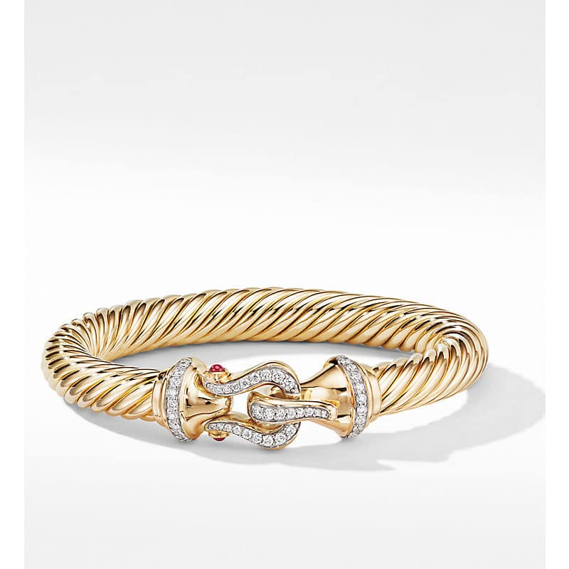 Cable Buckle Bracelet in 18K Yellow Gold with Diamonds, 9mm