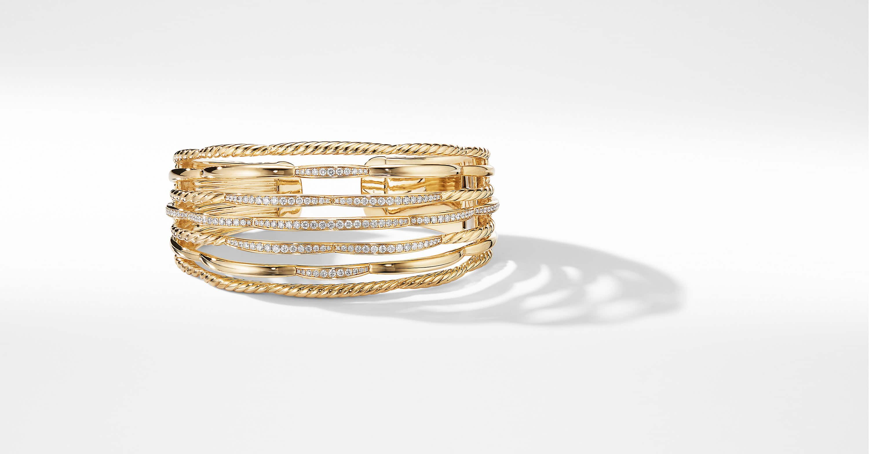 Tides Cuff Bracelet in 18K Yellow Gold with Diamonds, 32mm