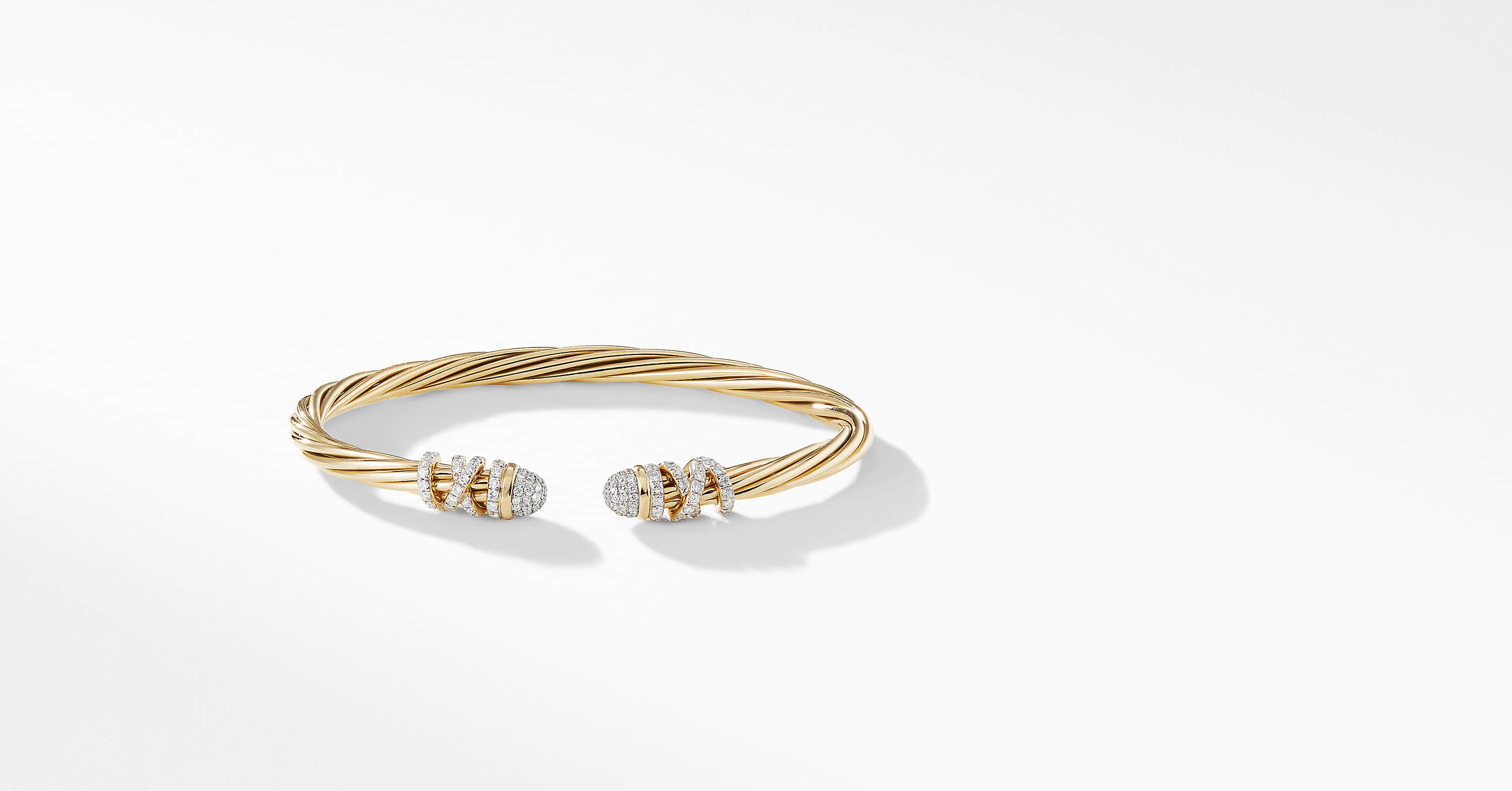 Helena End Station Bracelet in 18K Yellow Gold with Pavé Diamonds, 4mm