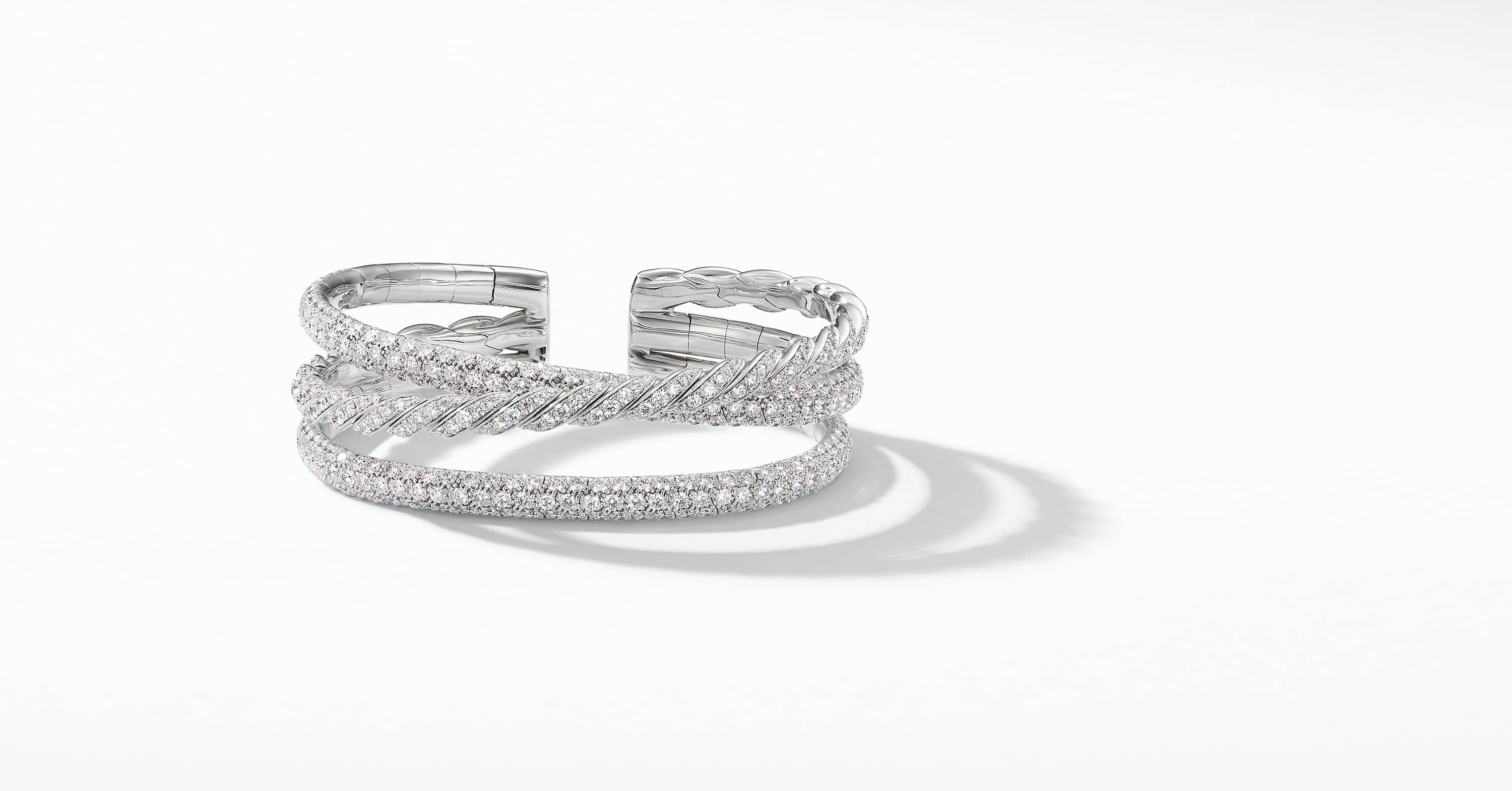 Pavéflex Three Row Bracelet  in 18K White Gold with Diamonds
