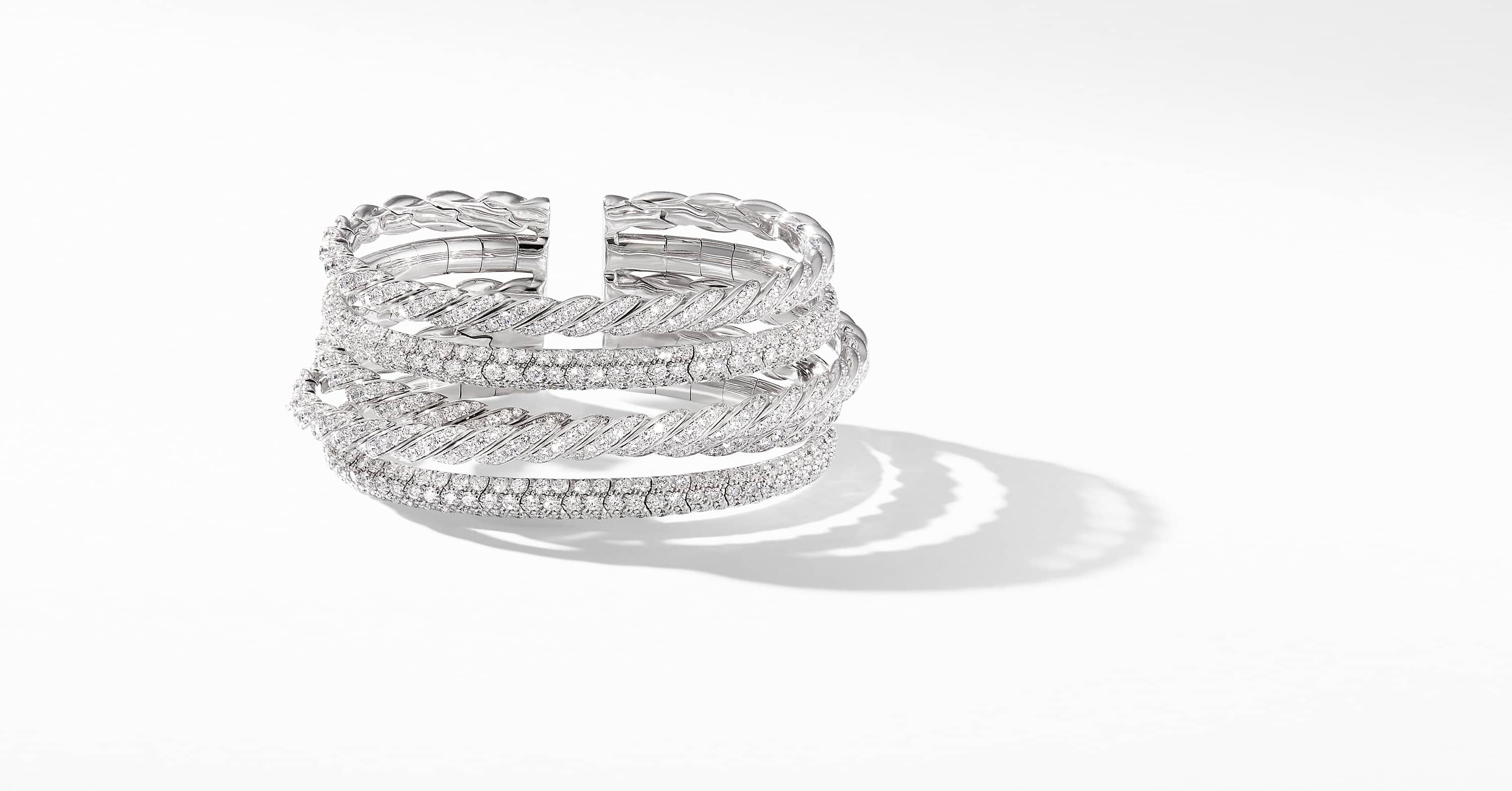 Pavéflex Five Row Bracelet  in 18K White Gold with Diamonds