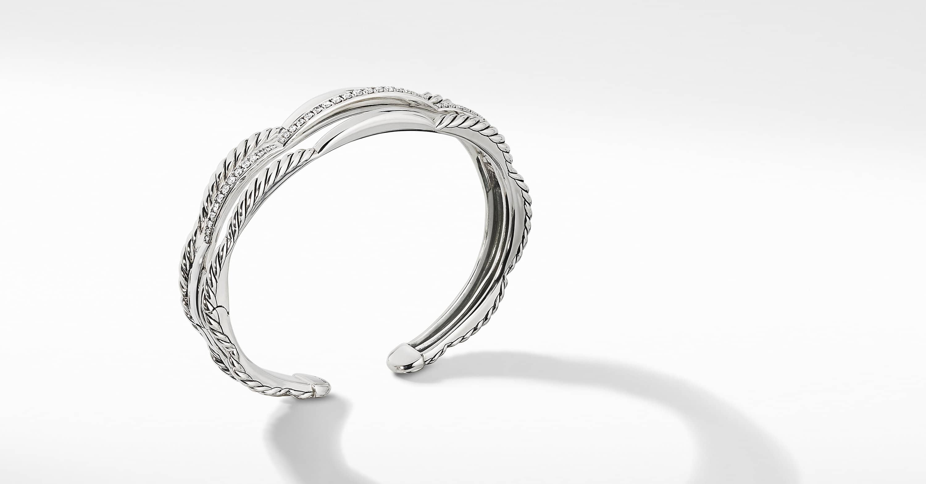 Tides Three Row Cuff Bracelet with Diamonds, 14mm