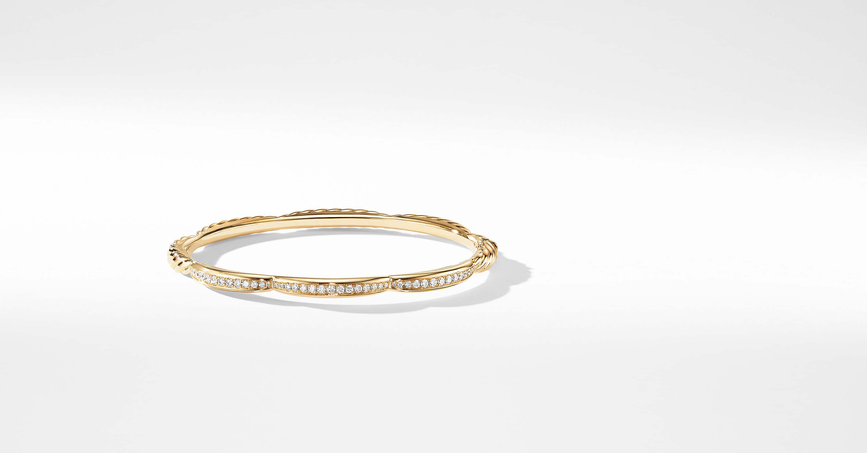 Tides Three Station Bracelet in 18K Yellow Gold with Diamonds, 4mm