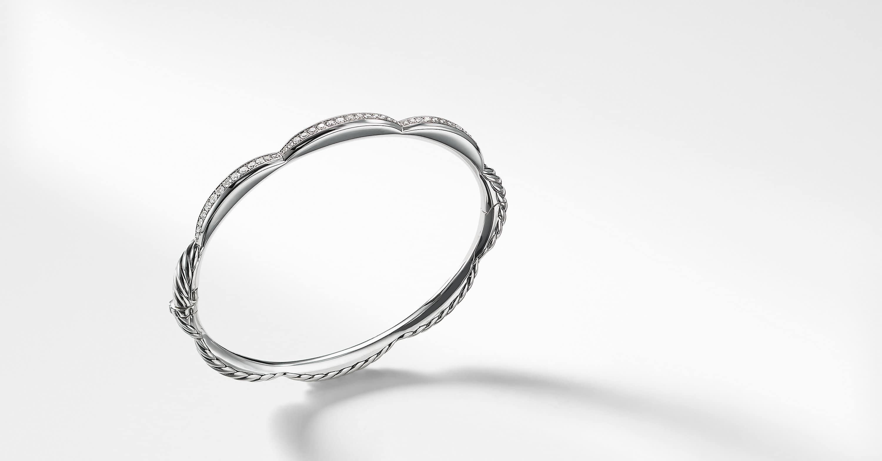 Tides Three Station Bracelet with Diamonds, 4mm