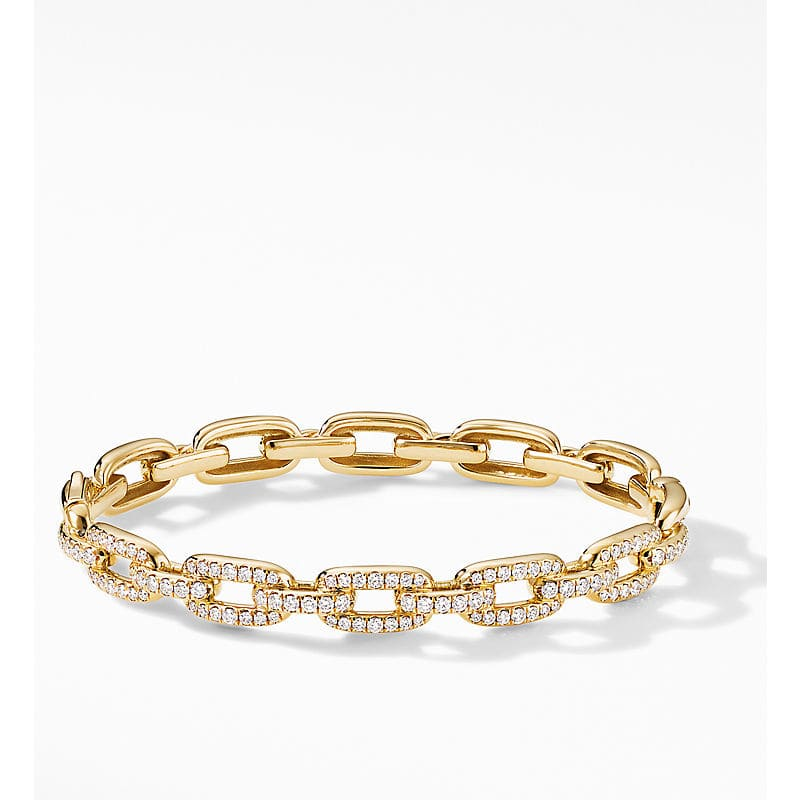 Stax Chain Link Bracelet in 18K Yellow Gold with Diamonds, 7mm