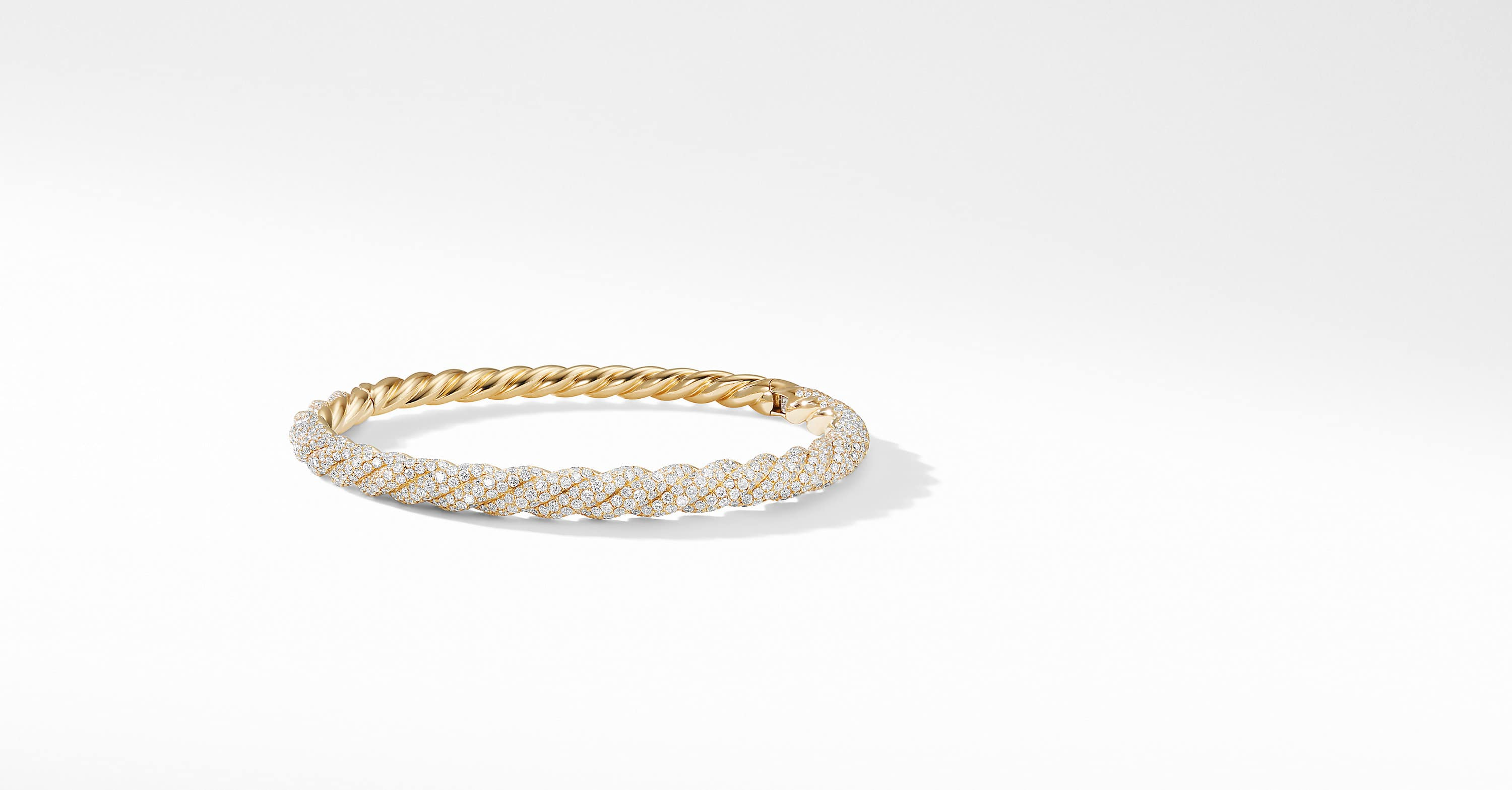 Stax Twist Bracelet in 18K Yellow Gold with Diamonds, 6.5mm