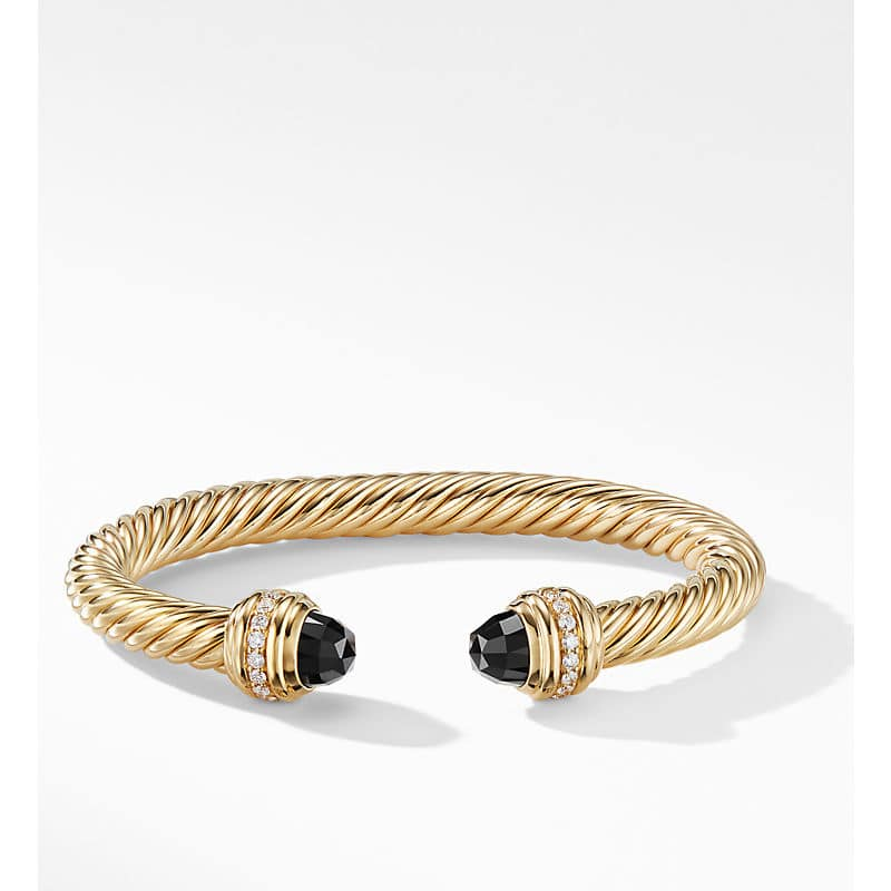 Cable Bracelet in 18K Gold with Diamonds, 7mm