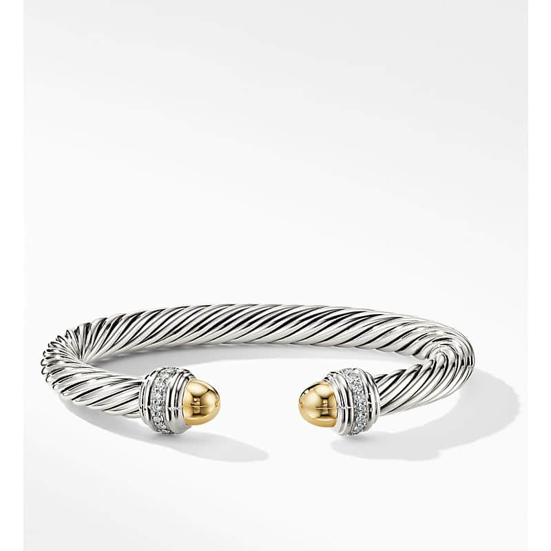 Cable Bracelet with 14K Gold and Diamonds, 7mm
