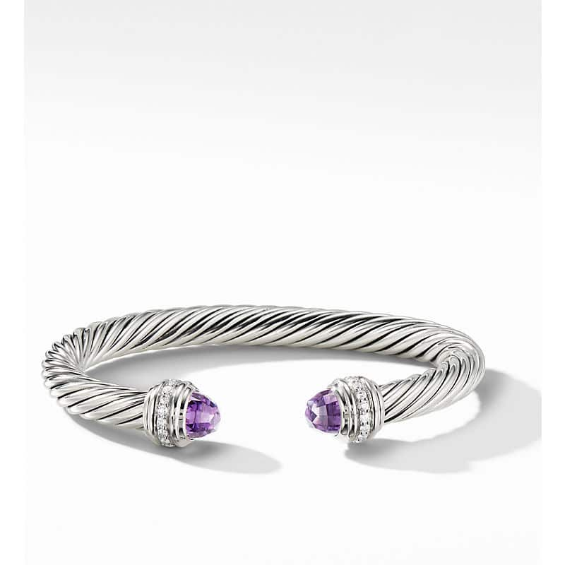 Cable Bracelet with Diamonds, 7mm