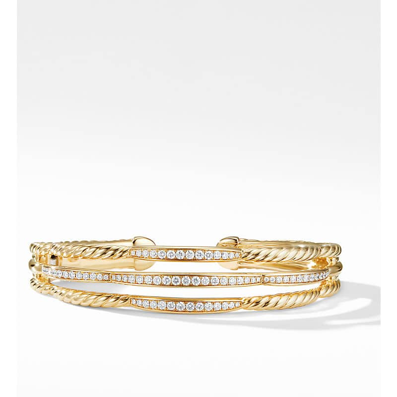 Tides Three Row Cuff Bracelet in 18K Yellow Gold with Diamonds, 14mm