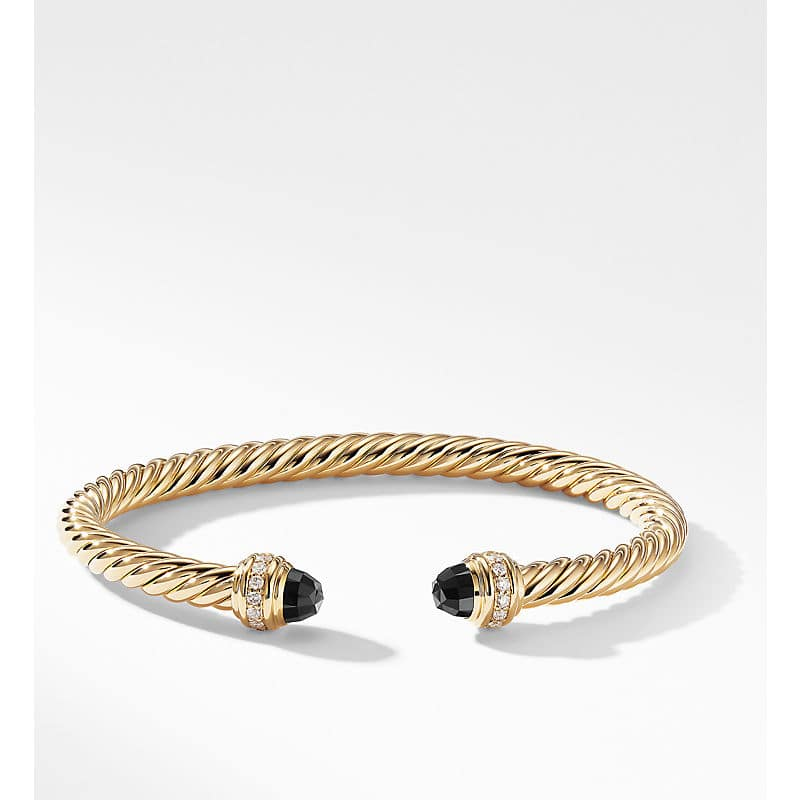 Cable Bracelet in 18K Gold with Diamonds, 5mm