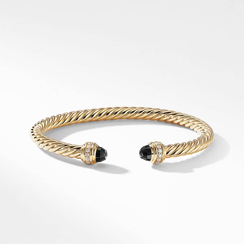 Cable Bracelet in 18K Gold with Black Onyx