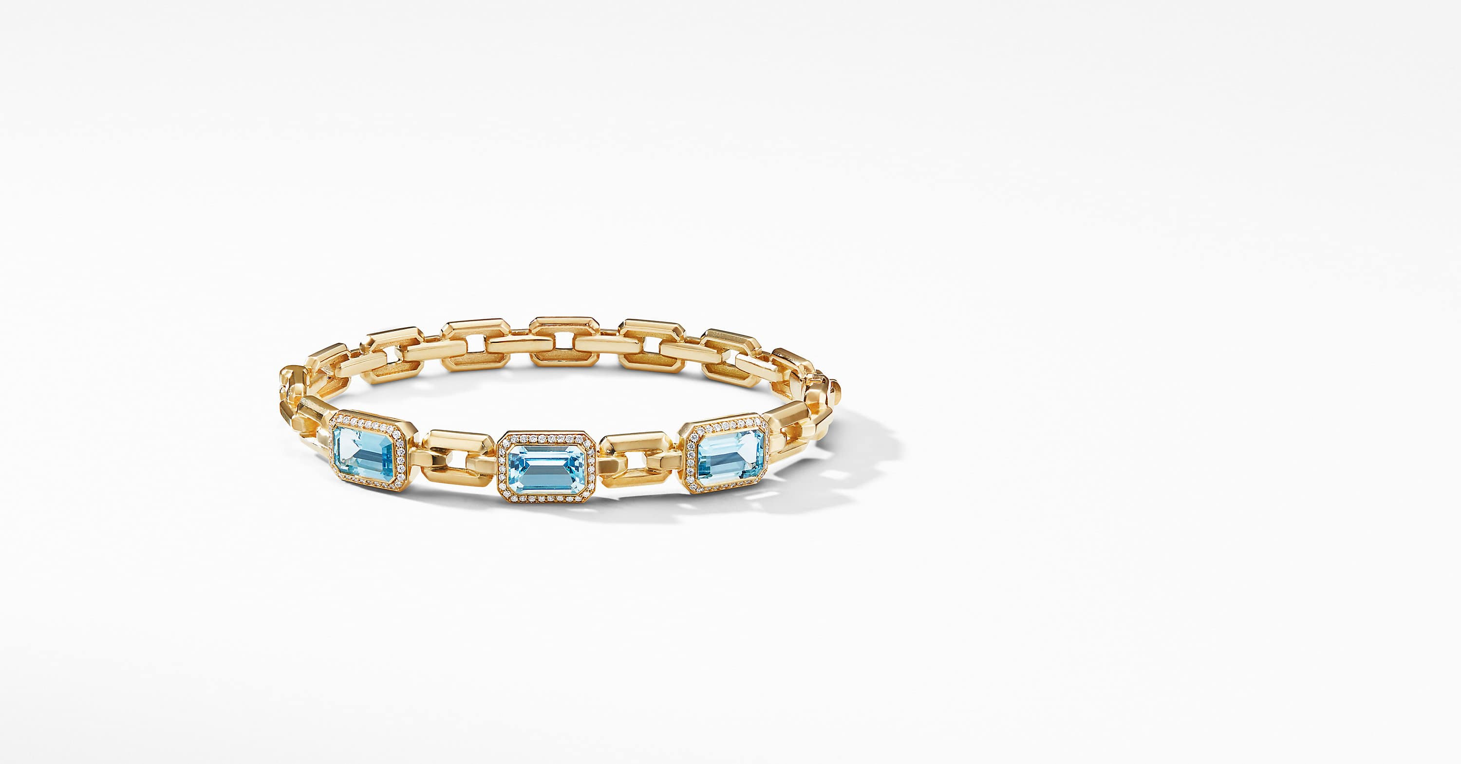 Novella Three Stone Bracelet in 18K Yellow Gold with Diamonds