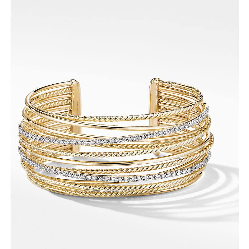 The Crossover Collection Cuff Bracelet in 18K Yellow Gold with Diamonds