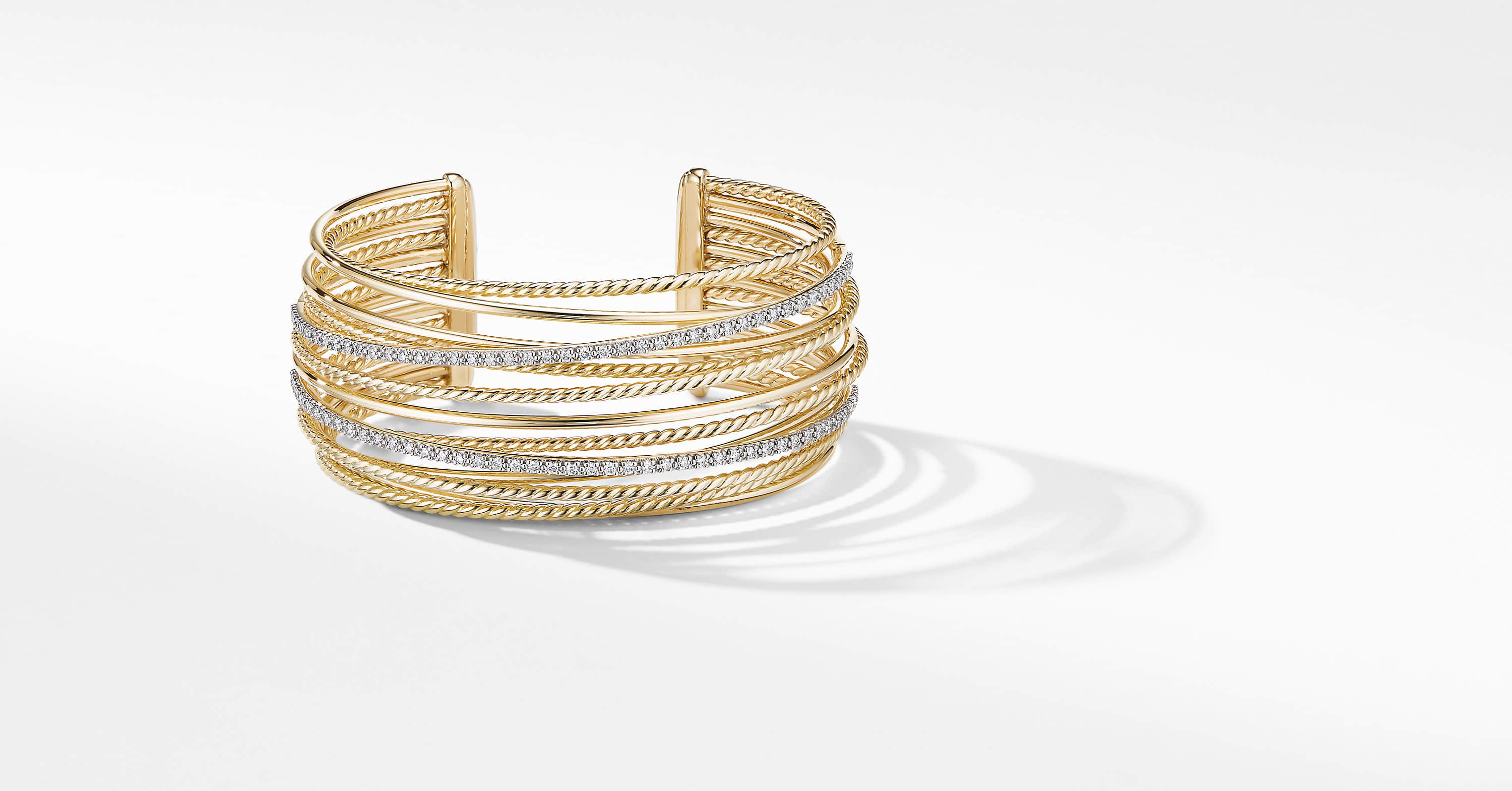 Crossover Cuff Bracelet in 18K Yellow Gold with Diamonds
