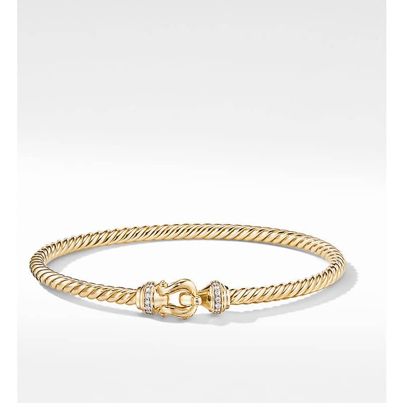 Buckle Bracelet in 18K Yellow Gold with Diamonds, 3.5mm