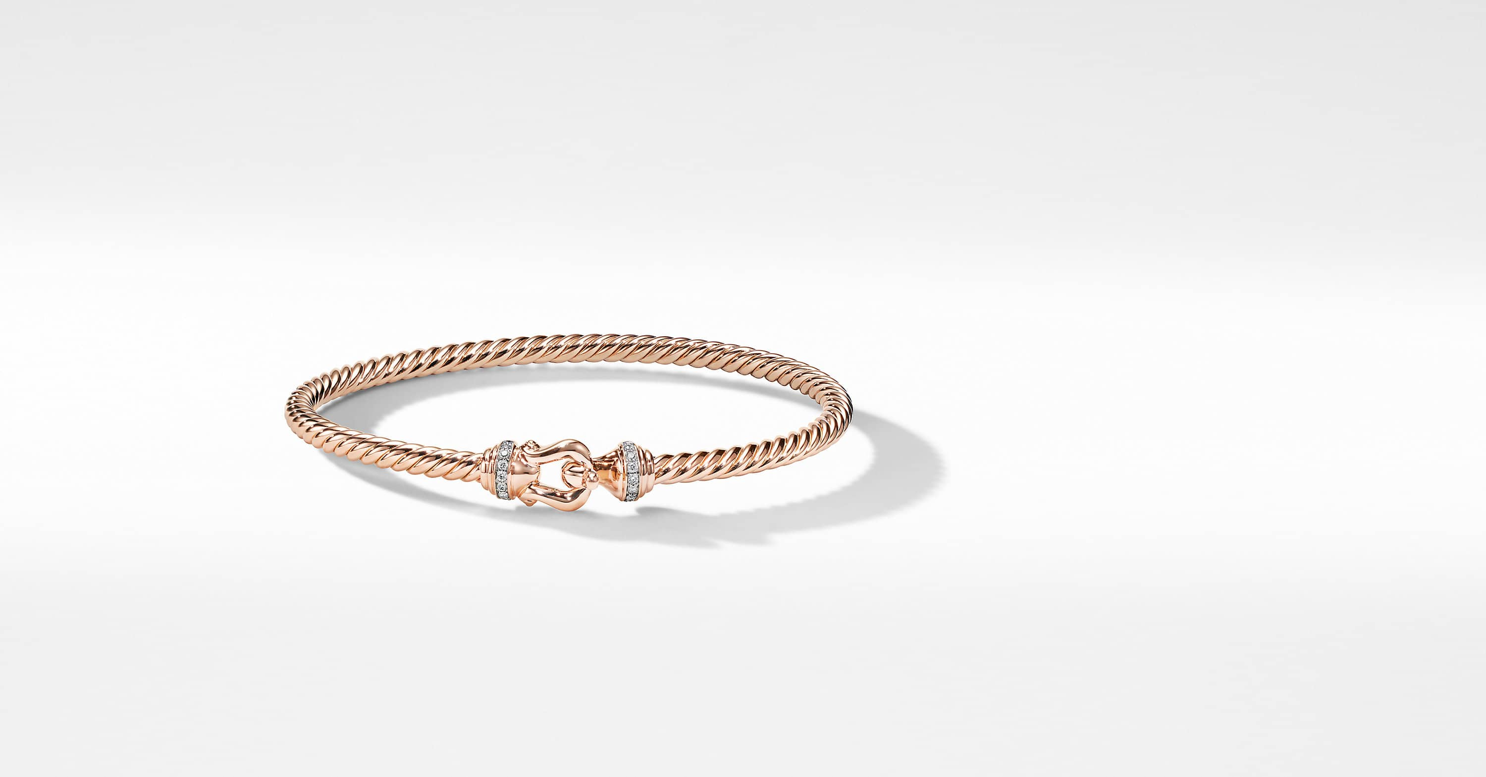 Buckle Bracelet in 18K Rose Gold with Pavé, 3.5mm