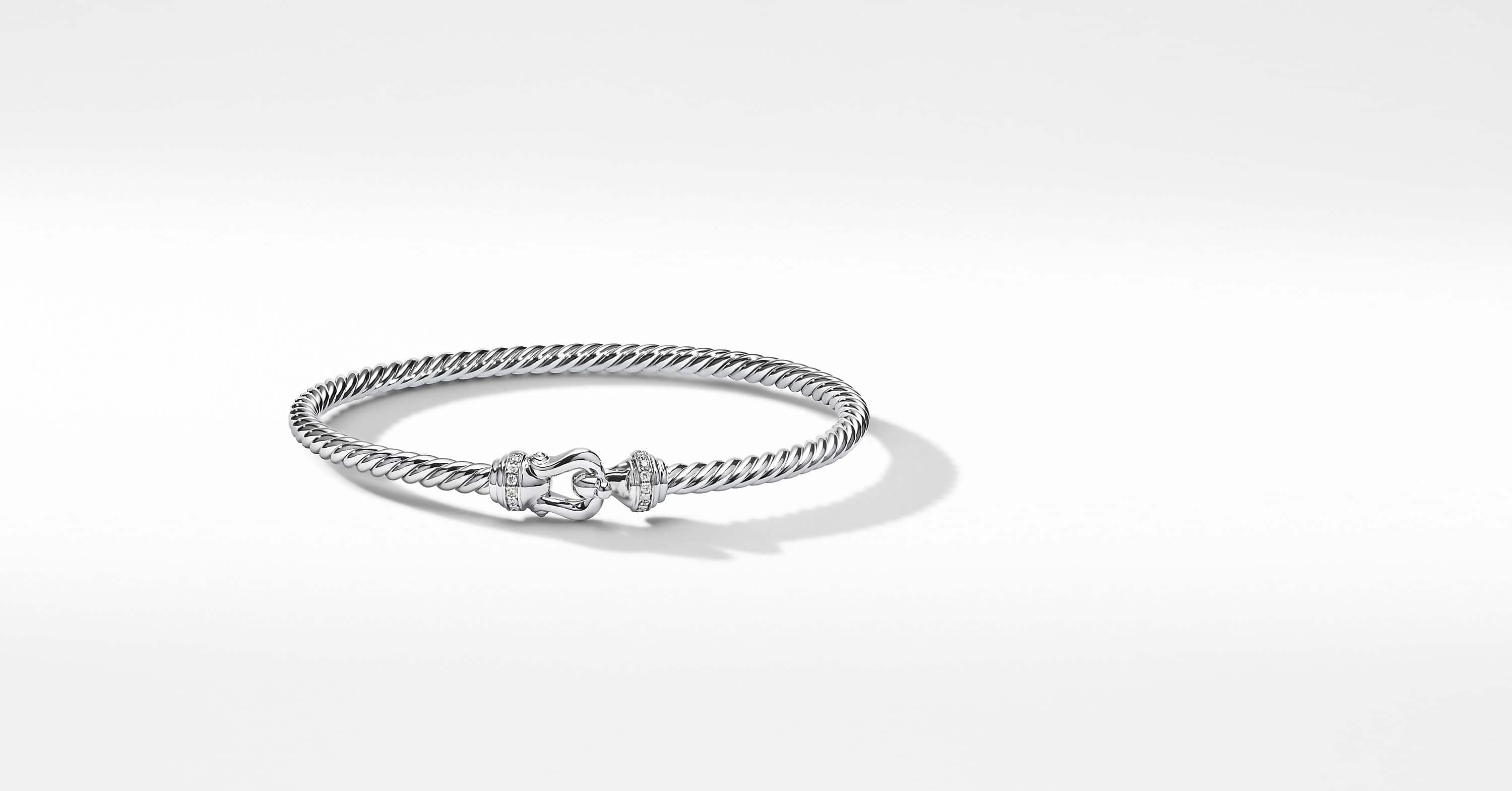 Buckle Bracelet in 18K White Gold with Pavé, 3.5mm