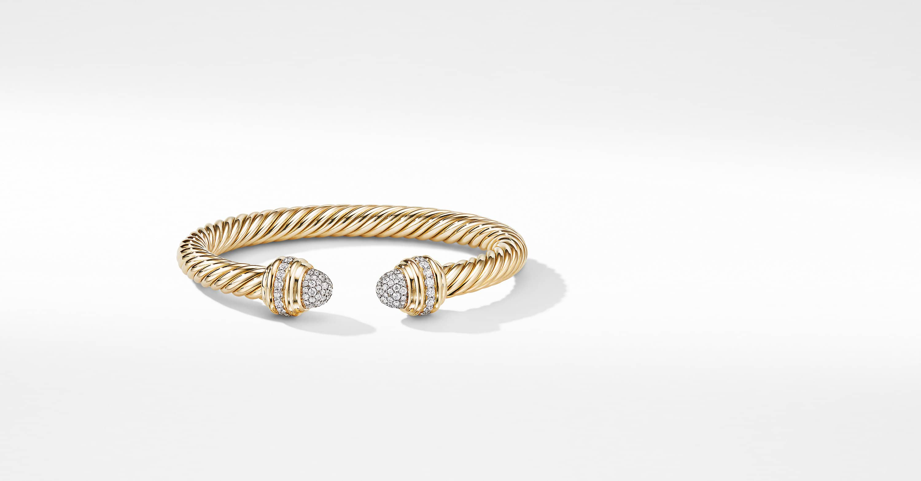 Cable Bracelet in 18K Yellow Gold with Diamonds, 7mm