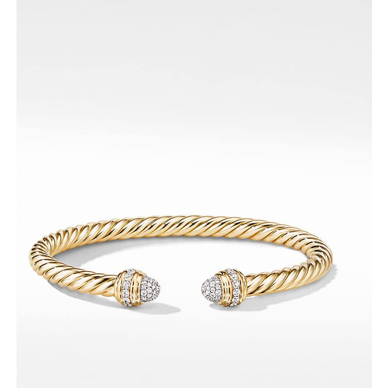 Cable Bracelet in 18K Yellow Gold with Diamonds, 5mm
