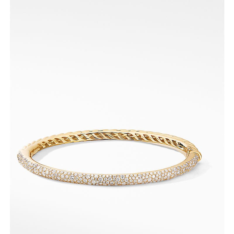 Cable Hinged Bangle Bracelet in 18K Yellow Gold with Pavé