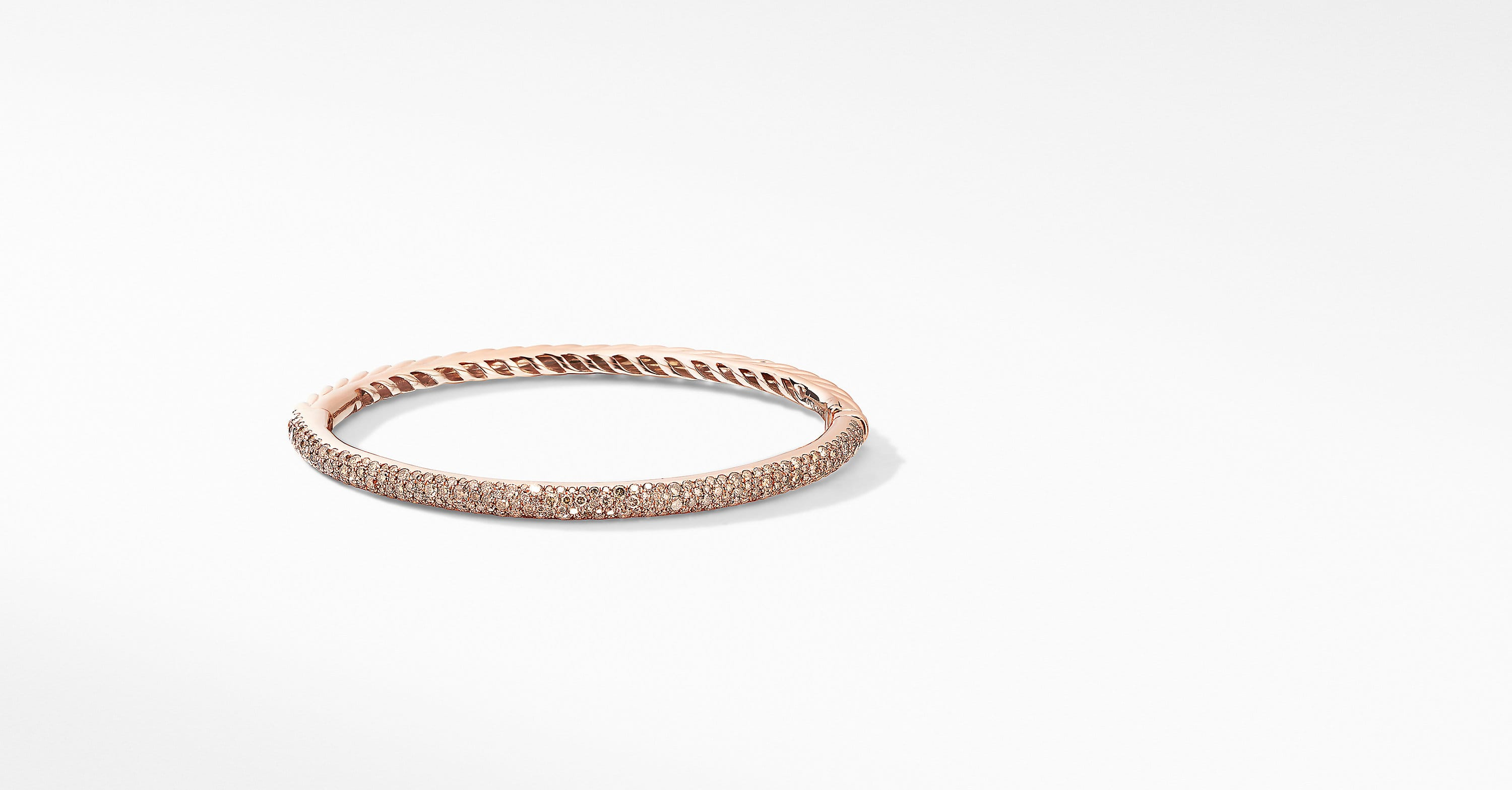 Cable Hinged Bangle Bracelet in 18K Rose Gold with Pavé