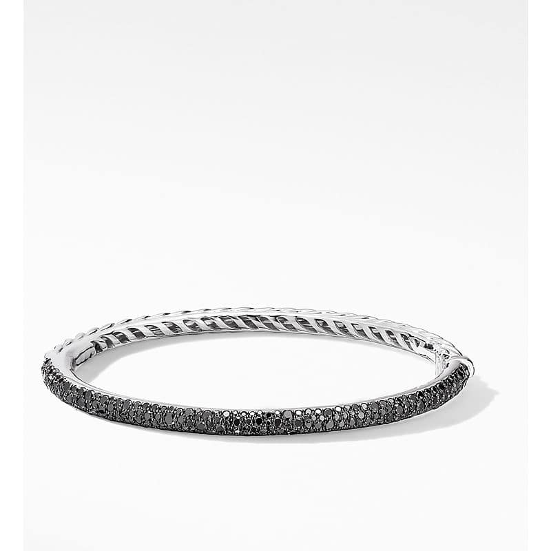 Cable Hinged Bangle Bracelet in 18K White Gold with Pavé