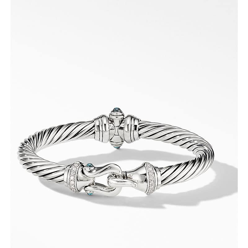 Cable Buckle Bracelet with Diamonds, 7mm