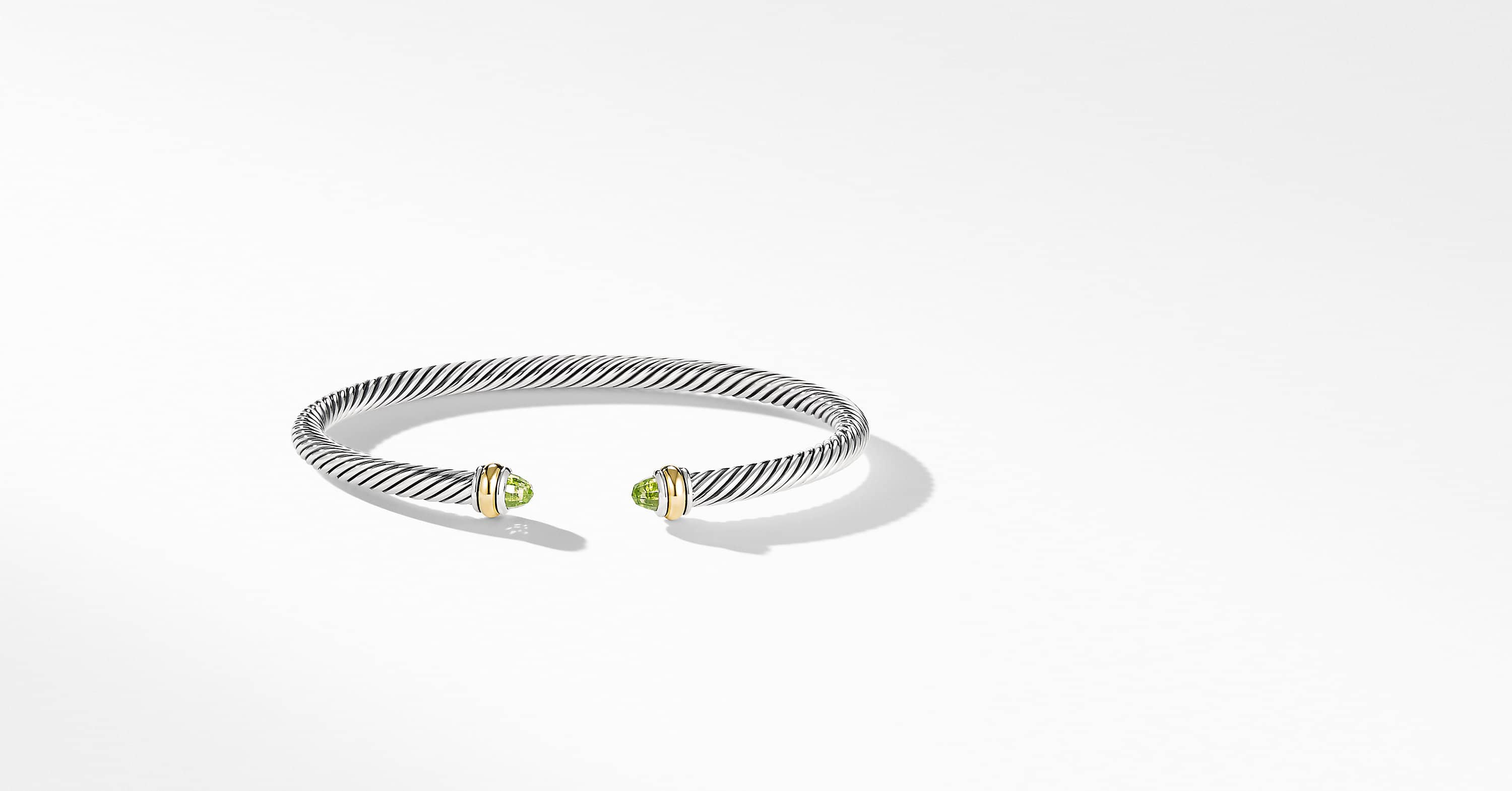 Cable Classic Bracelet with 18K Yellow Gold, 4mm