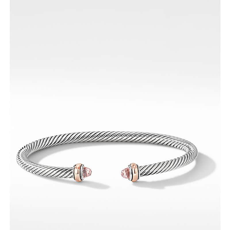 Cable Classic Bracelet with 18K Rose Gold, 4mm
