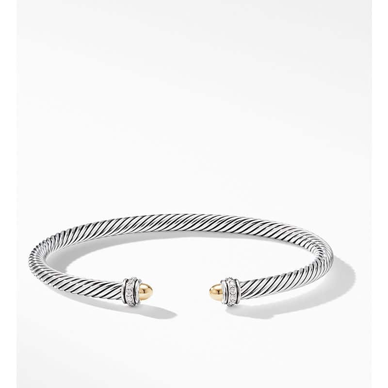 Cable Classics Bracelet with 18K Yellow Gold and Diamonds, 4mm
