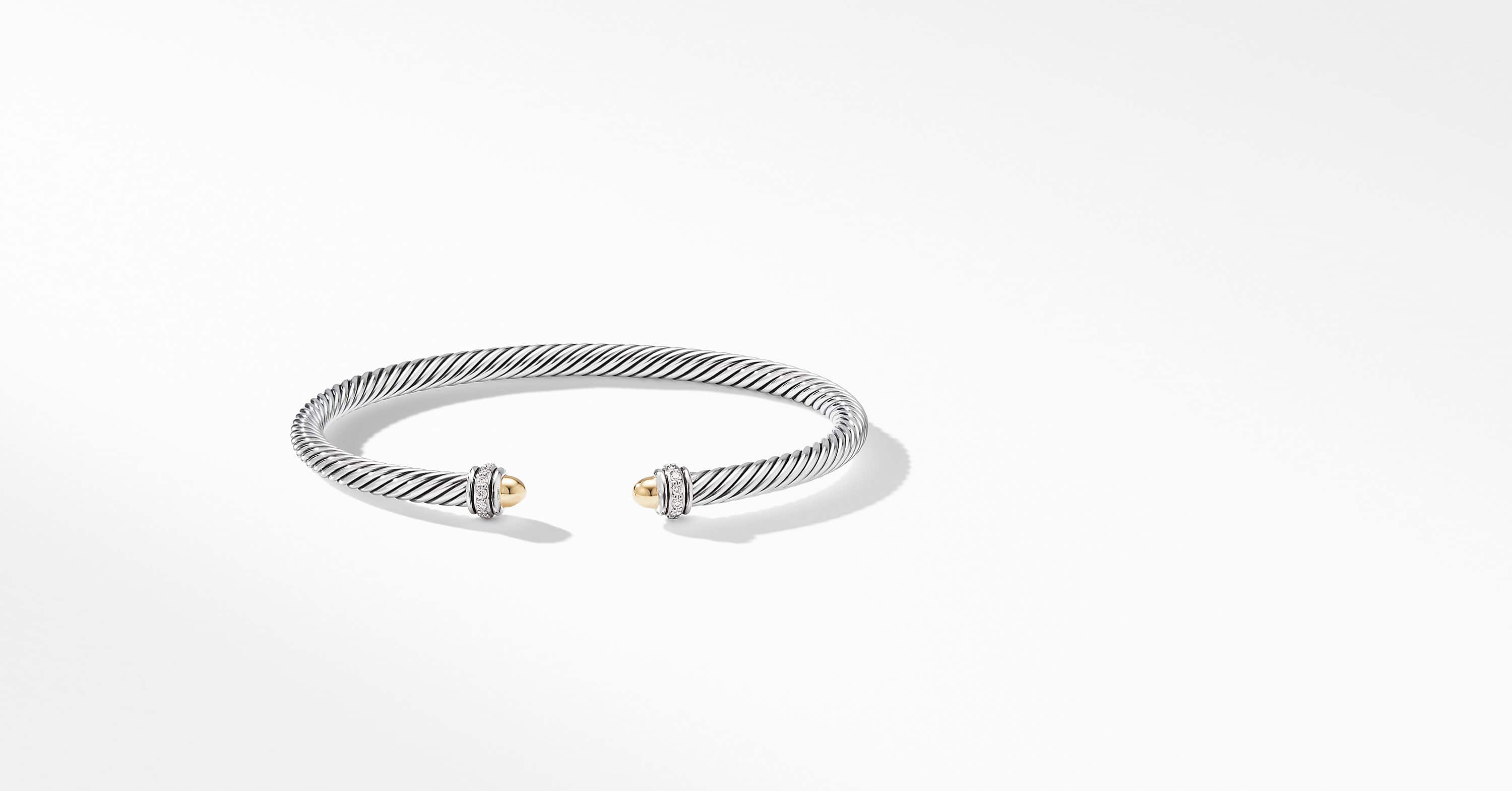 Cable Classic Bracelet with 18K Yellow Gold and Diamonds, 4mm