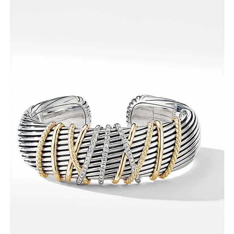 Helena Cuff Bracelet with 18K Yellow Gold and Diamonds, 22mm