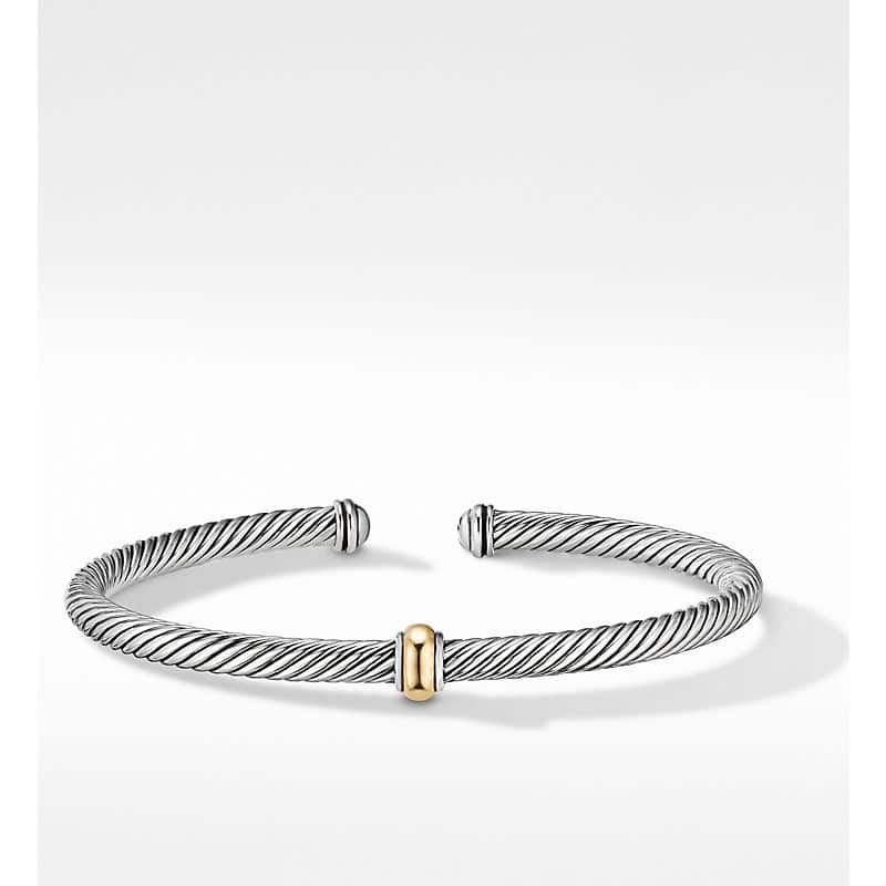 Cable Classics Center Station Bracelet with 18K Yellow Gold, 4mm