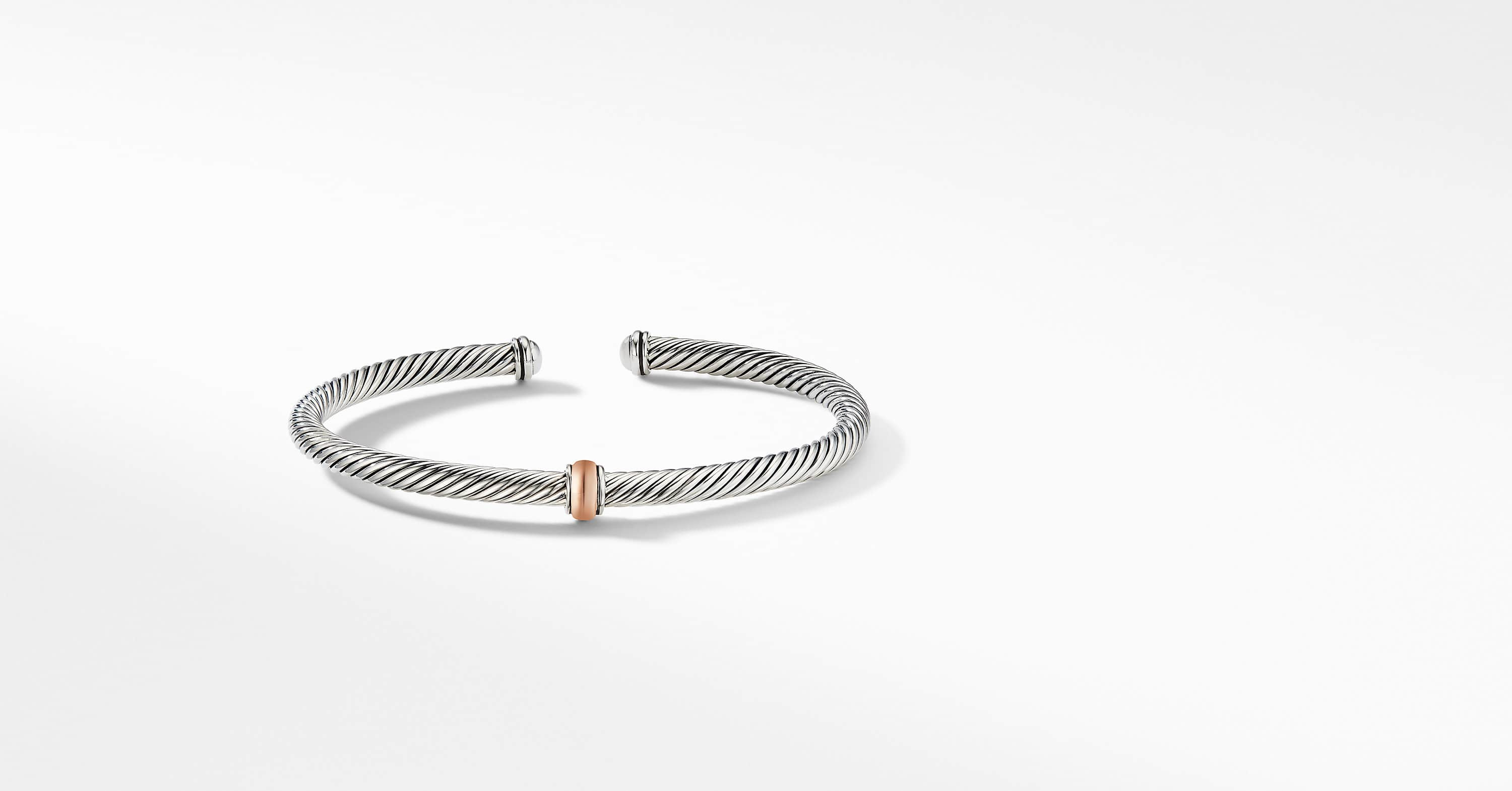 Cable Classics Center Station Bracelet with 18K Rose Gold, 4mm
