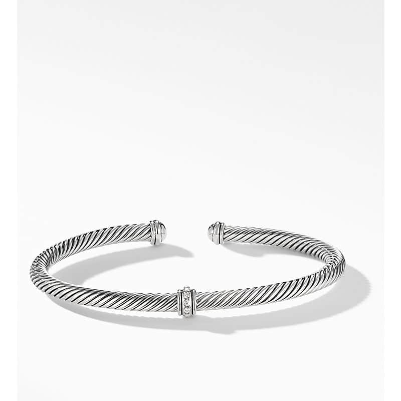Cable Classic Collection Center Station Bracelet with Diamonds, 4mm
