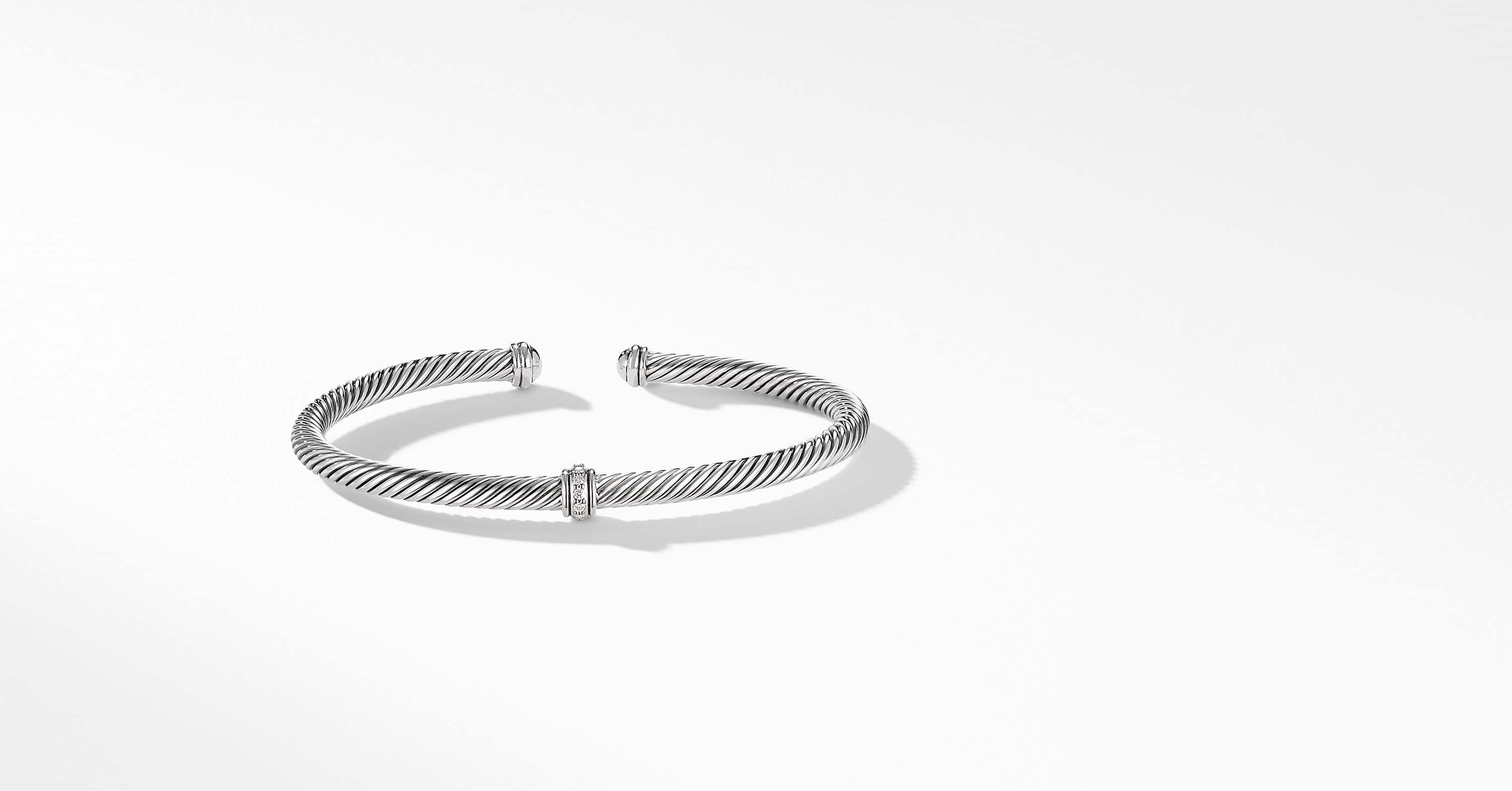 Cable Classic Center Station Bracelet with Diamonds, 4mm