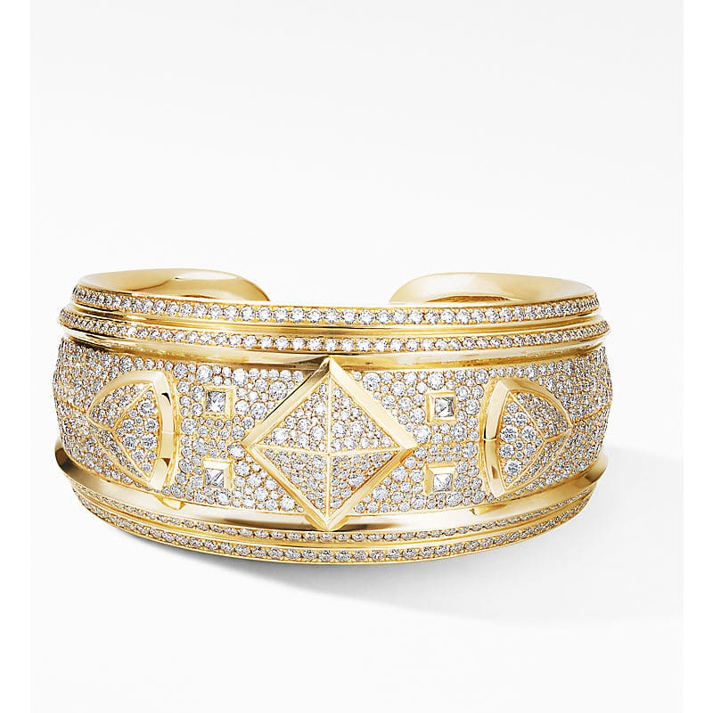 Renaissance Cuff Bracelet in 18K Yellow Gold with Full Pavé