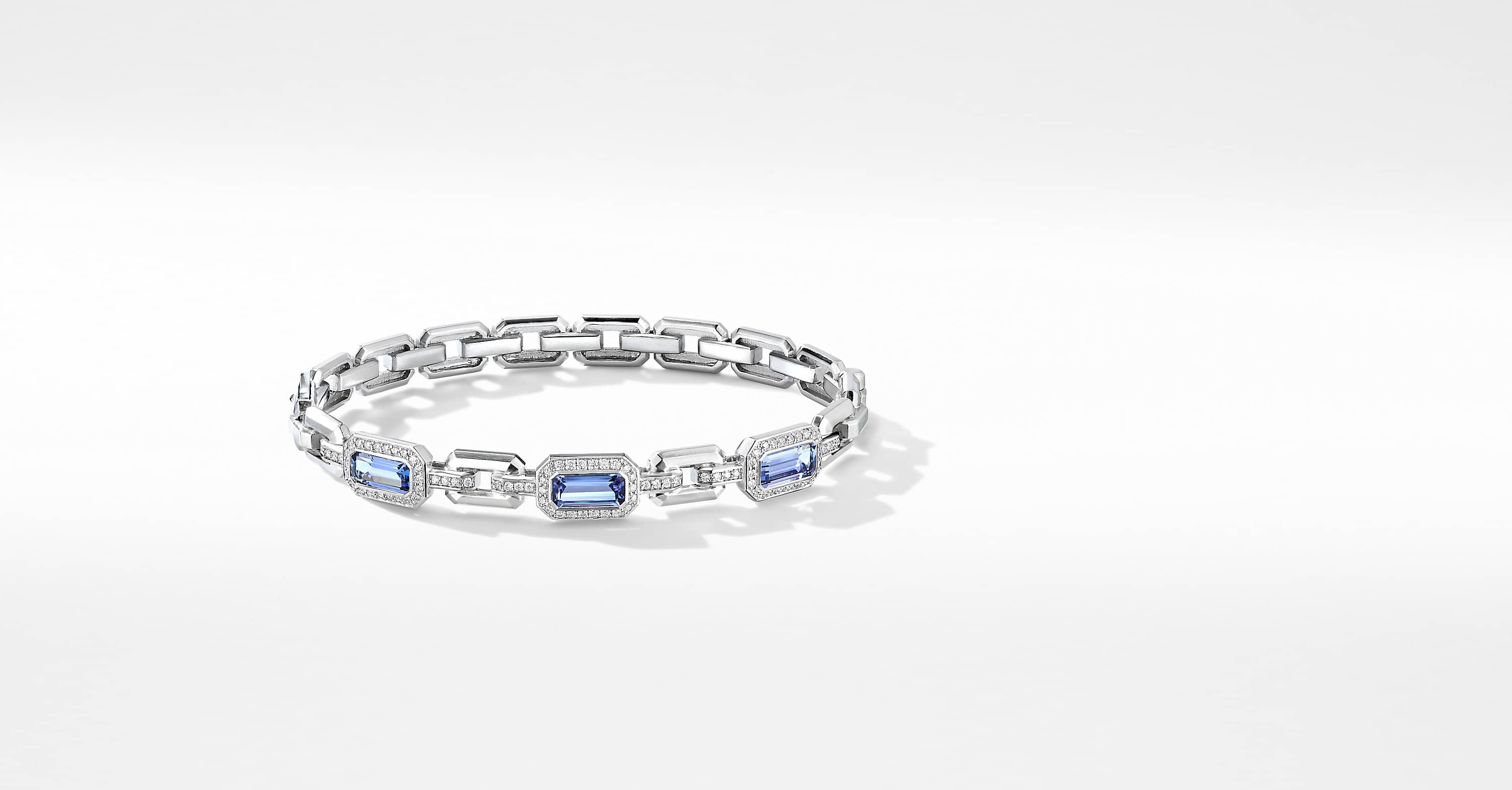 Novella Three Stone Bracelet in 18K White Gold with Pavé