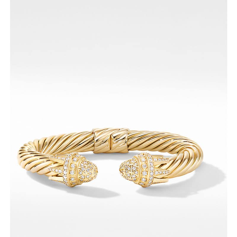 Statue of Liberty Cable Bracelet in 18K Yellow Gold with Pavé