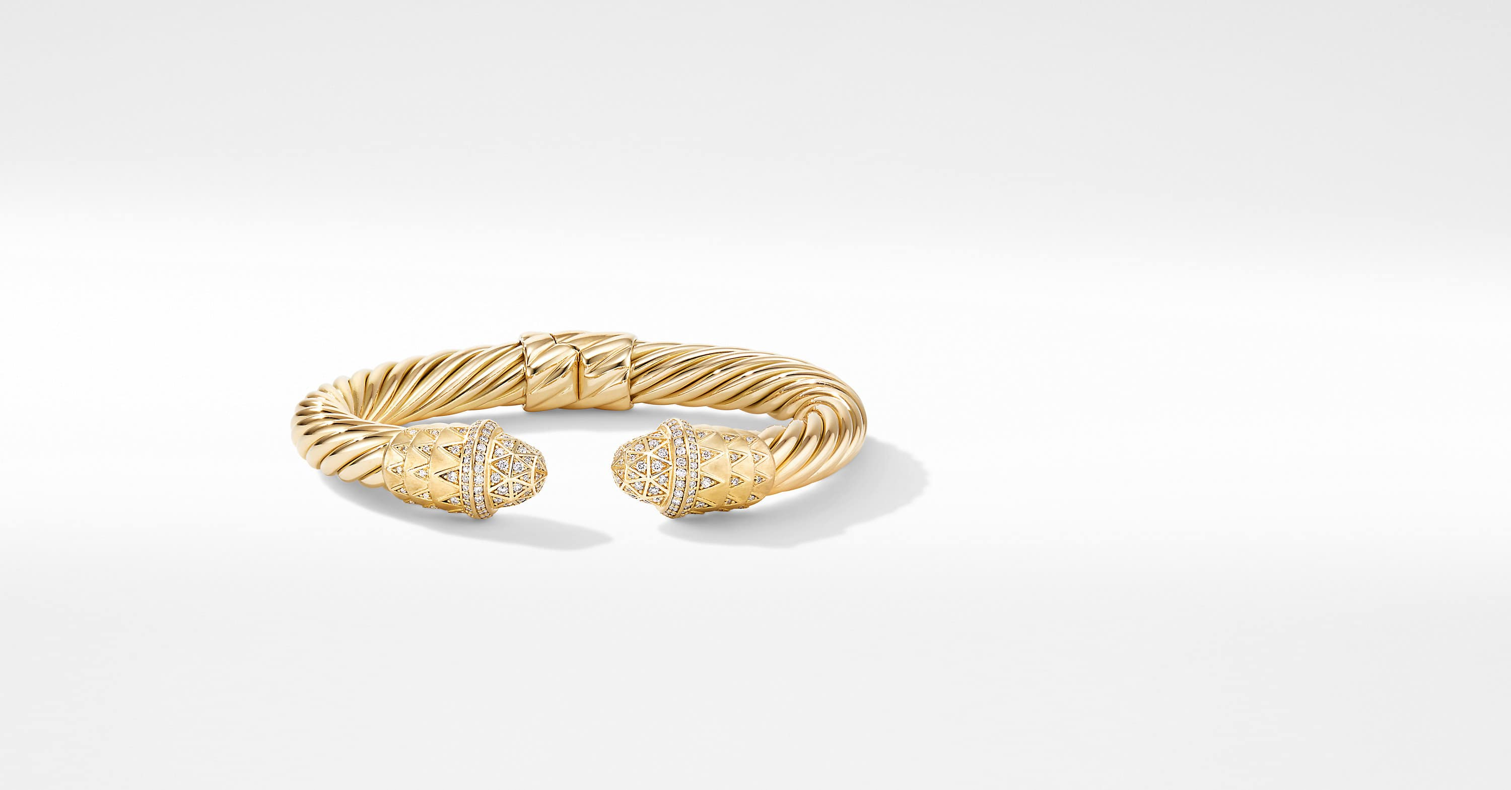Deco Cable Bracelet in 18K Yellow Gold with Pavé