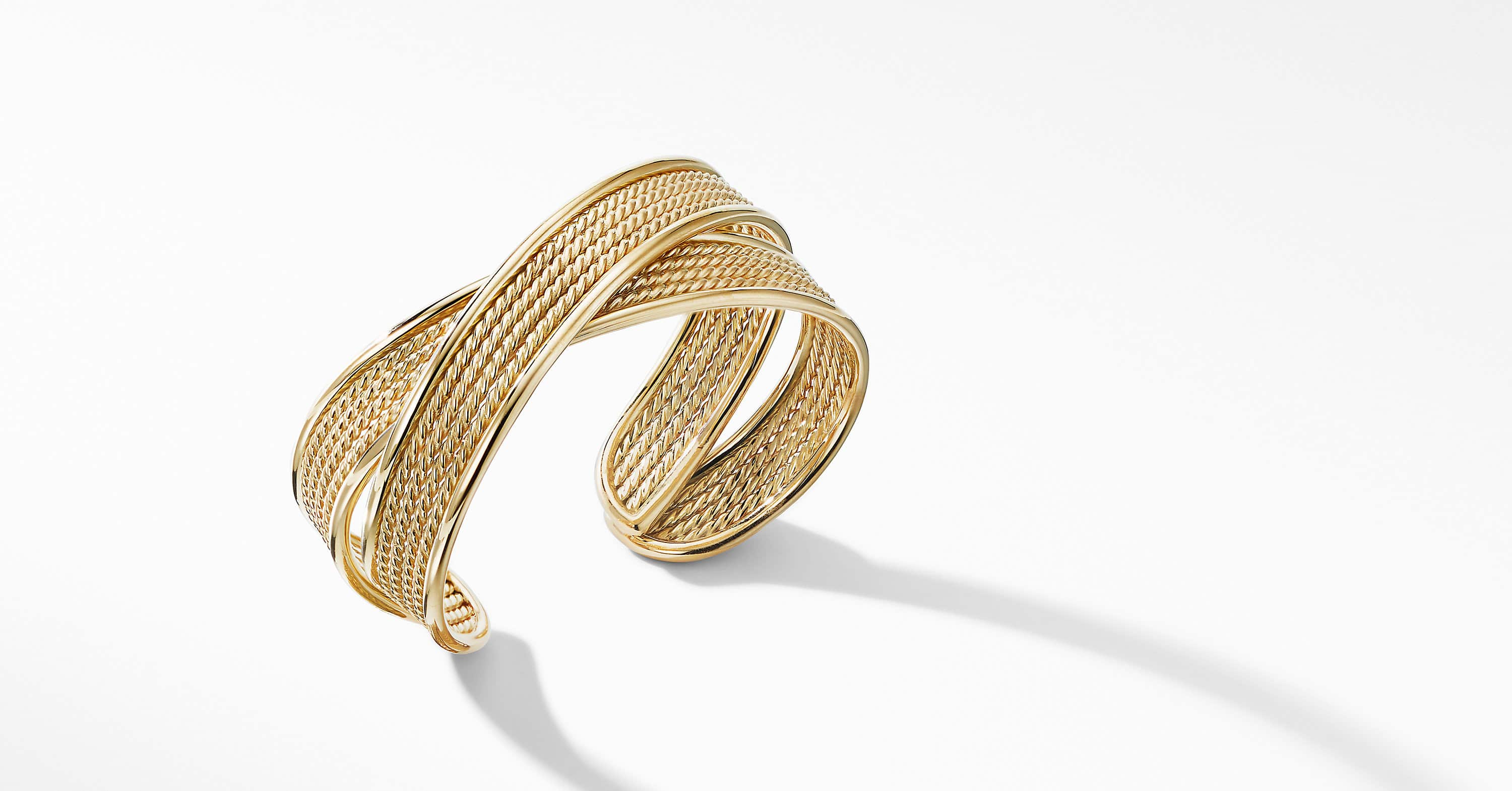 DY Origami Narrow Crossover Cuff Bracelet in 18K Yellow Gold