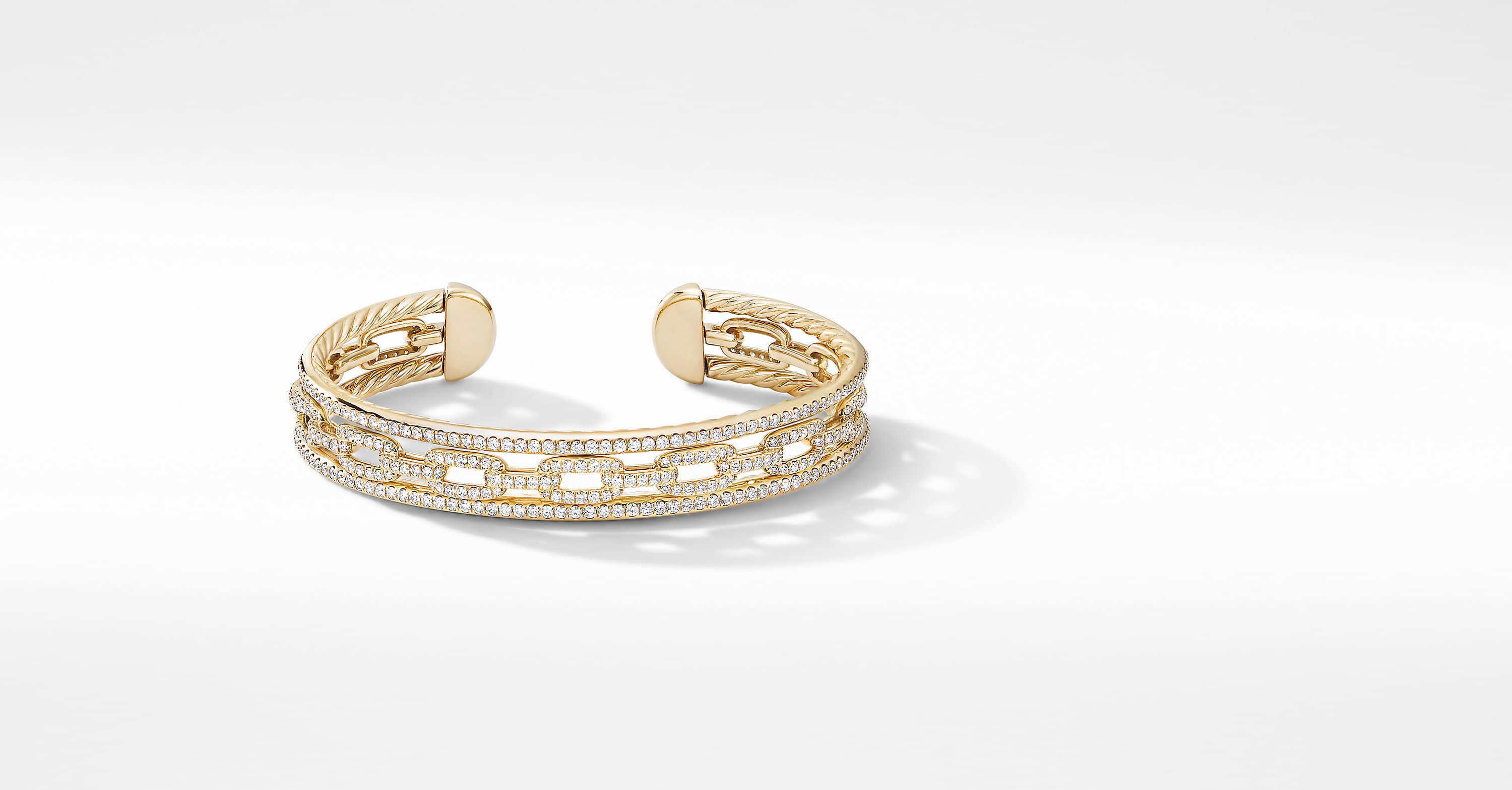 Stax Three-Row Chain Link Bracelet in 18K Yellow Gold with Diamonds