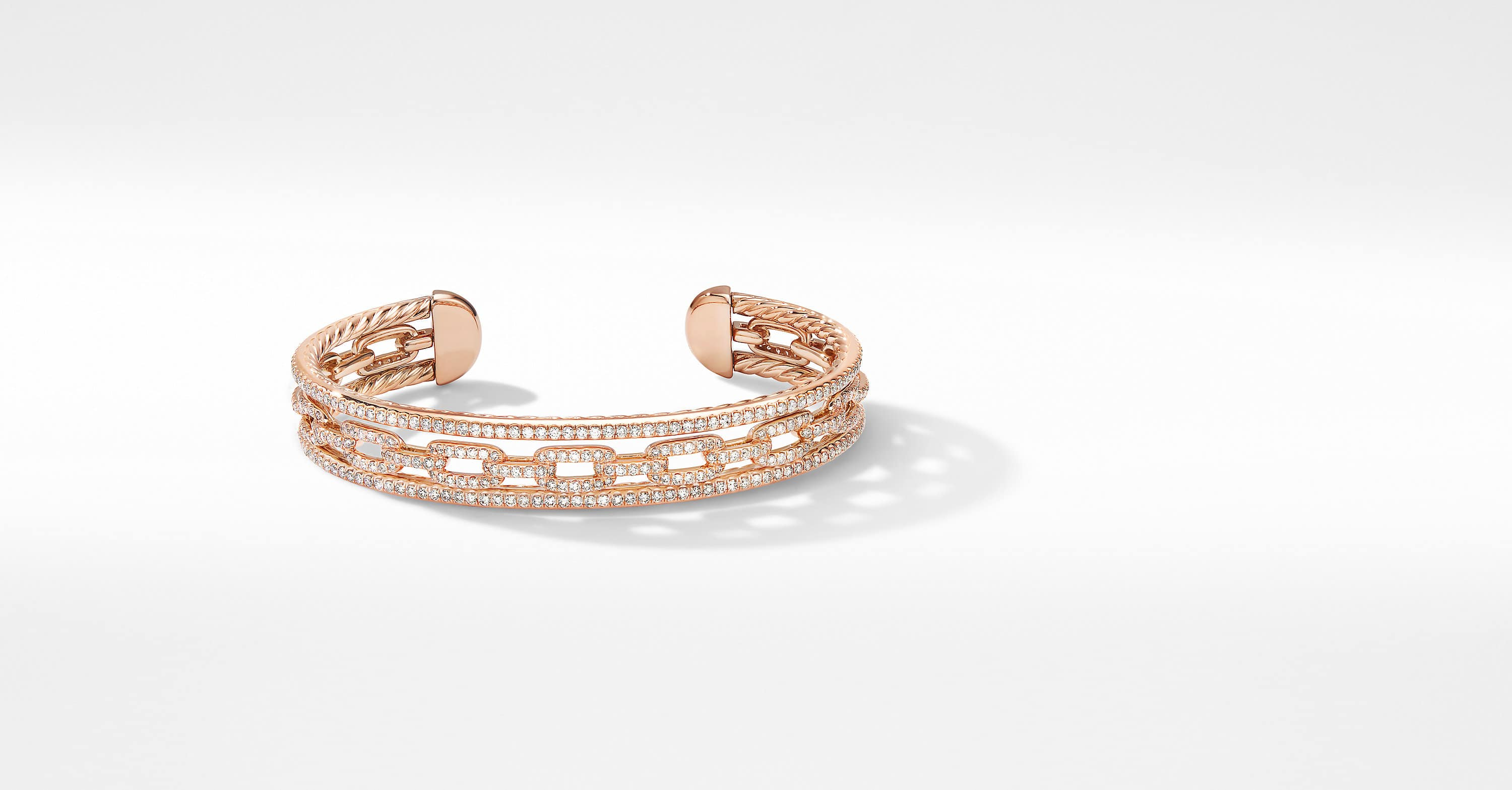 Stax Three-Row Chain Link Bracelet in 18K Rose Gold with Pavé