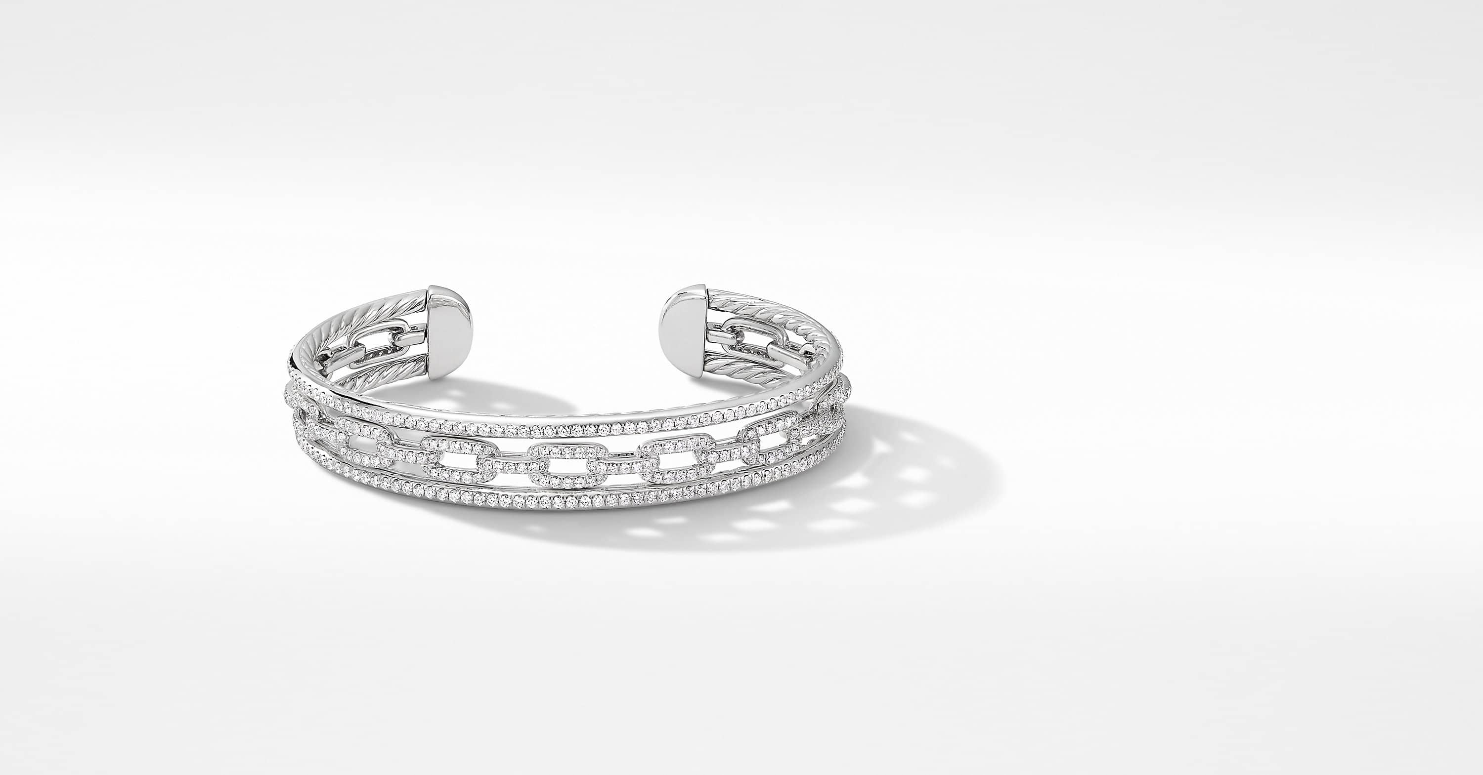 Stax Three-Row Chain Link Bracelet in 18K White Gold with Diamonds