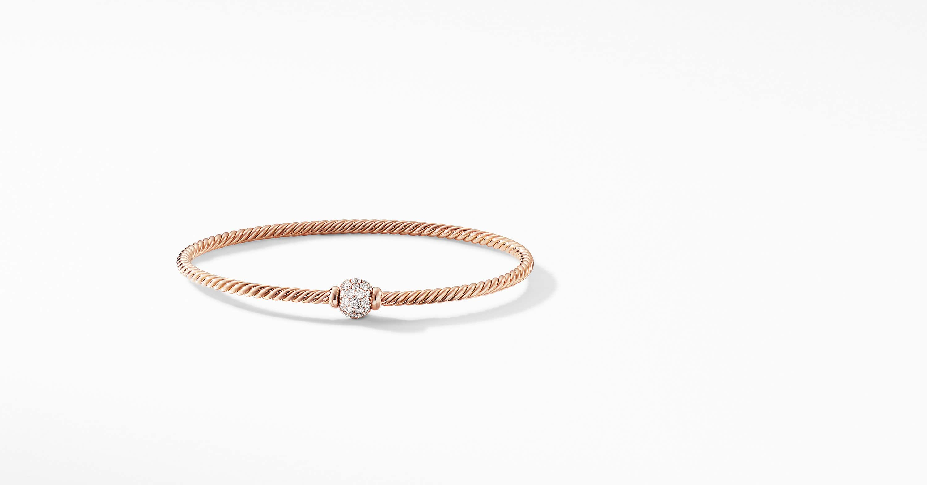 Solari Center Station Bracelet in 18K Rose Gold with Diamonds
